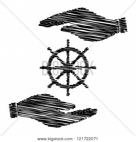 Ship wheel sign