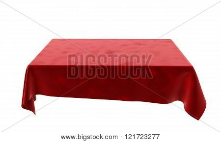 Red Velor Rectangular Tablecloth For The Table Isolated On White