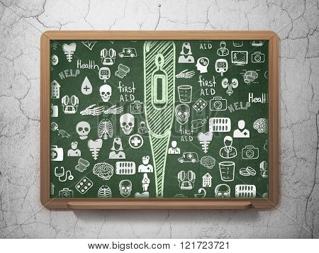 Health concept: Thermometer on School Board background