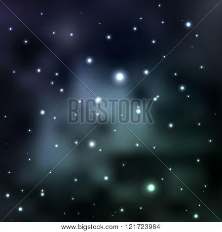 Space Nebula in muted tones, distant galaxies and planets. large number of stars. starry sky. Abstra