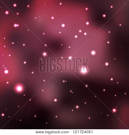 unknown space. cluster of stars in red nebula. Vector abstract star background.