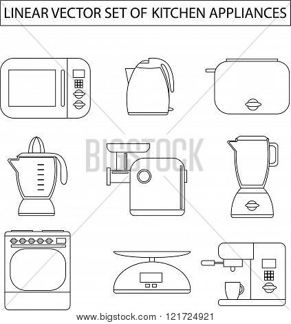 Set of linear vector kitchen appliances. Microwave, electric kettle, toaster, blender, meat grinder,
