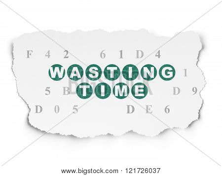 Time concept: Wasting Time on Torn Paper background