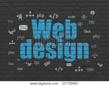 Web development concept: Web Design on wall background
