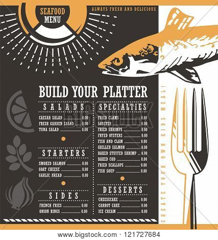 Seafood restaurant menu vector design