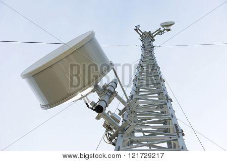 Mobile phone base station communications transmiting tower