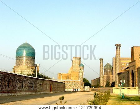 The ancient architectural ensemble Registan at evening in Samarkand Uzbekistan