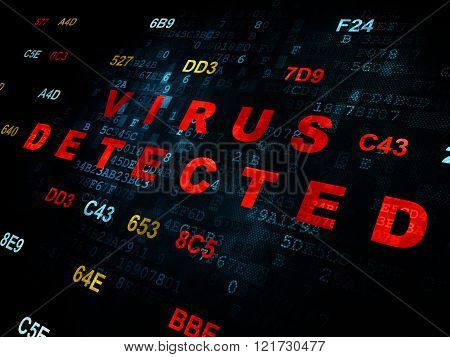 Safety concept: Virus Detected on Digital background