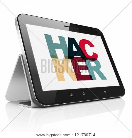 Safety concept: Tablet Computer with Hacker on  display