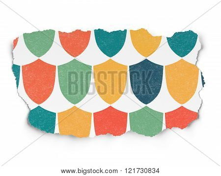 Security concept: Shield icons on Torn Paper background