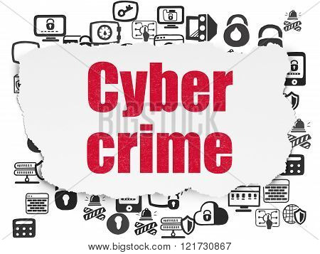 Security concept: Cyber Crime on Torn Paper background