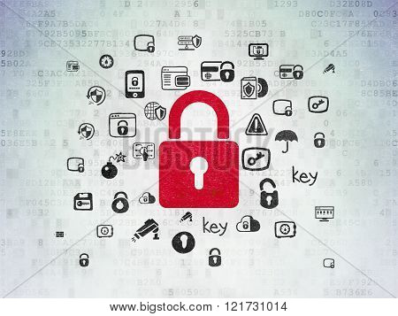 Security concept: Closed Padlock on Digital Paper background