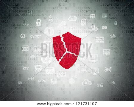 Safety concept: Broken Shield on Digital Paper background