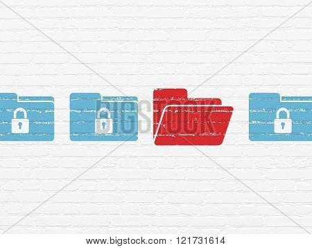 Security concept: folder icon on wall background