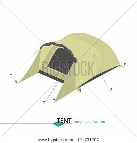 Tent for shelter from the wind in bad weather. Isometri