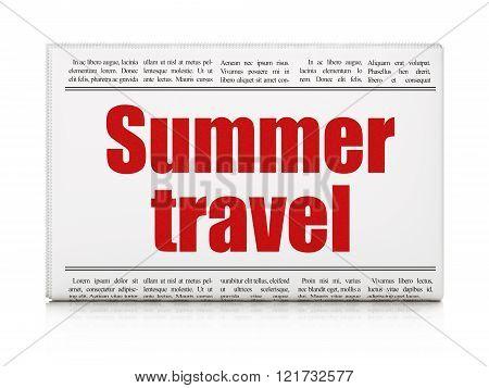 Vacation concept: newspaper headline Summer Travel
