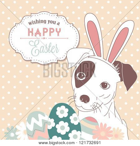 Easter Beagle Cute little dog with bunny ears
