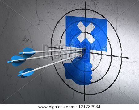 Politics concept: arrows in Protest target on wall background