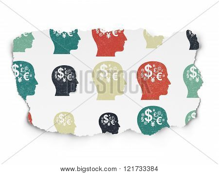 Learning concept: Head With Finance Symbol icons on Torn Paper background