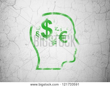 Studying concept: Head With Finance Symbol on wall background