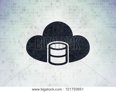 Cloud networking concept: Database With Cloud on Digital Paper background