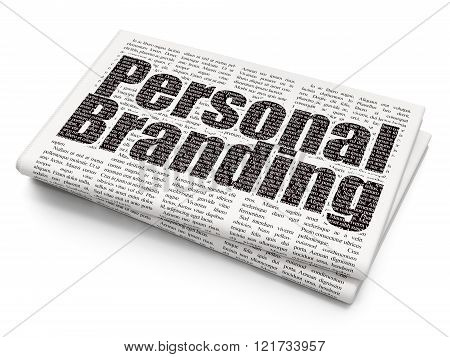 Marketing concept: Personal Branding on Newspaper background