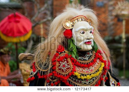 BALI - JANUARY 15: Masked actor performing in the play 'Topeng Tua', part of a dance in a 'full moon ceremony' in the Bedulu village in Ubud, Bali. January 15, 2010 in Bali, Indonesia.