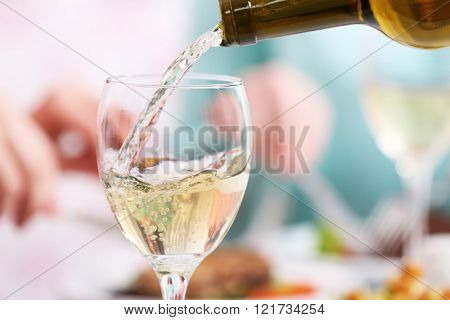 Dinner with wine, closeup
