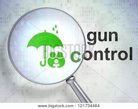 Safety concept: Family And Umbrella and Gun Control with optical glass