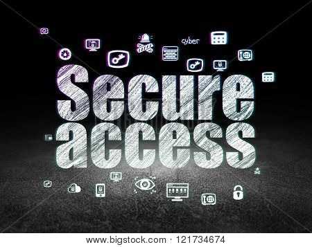 Privacy concept: Secure Access in grunge dark room