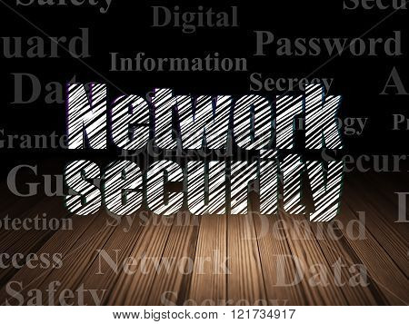 Protection concept: Network Security in grunge dark room