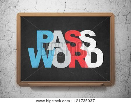 Privacy concept: Password on School Board background