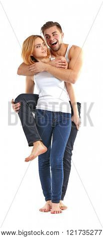 Young couple in love having fun together, isolated on white