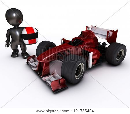 Morph man with open wheeled racing car