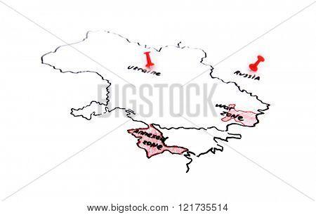 Map of Ukraine and Russia - territorial dispute concept