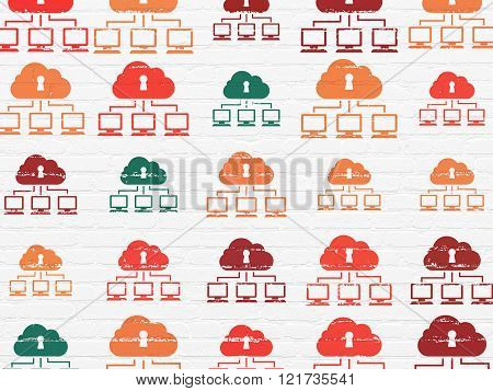 Privacy concept: Cloud Network icons on wall background
