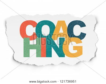 Learning concept: Coaching on Torn Paper background