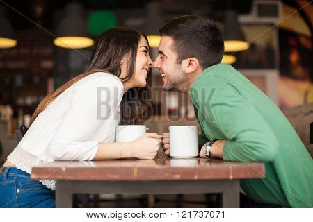 Couple In Love At A Coffee Shop