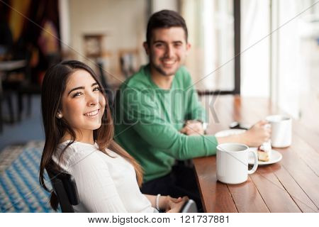Cute Girl Drinking Coffee With A Guy