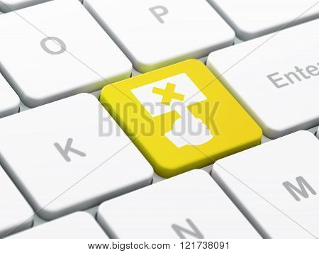 Politics concept: Protest on computer keyboard background
