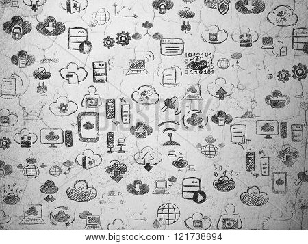 Grunge background:  wall texture with Painted Hand Drawn Cloud Technology Icons
