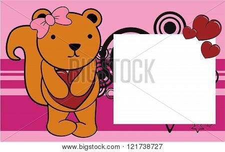 cute squirrel girl valentine background card