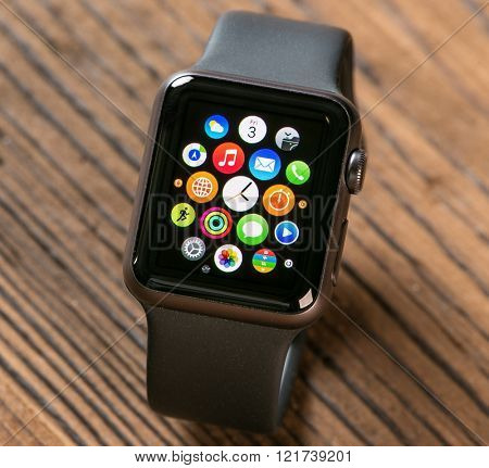 PRAGUE, CZECH REPUBLIC - June 22, 2015: New wearable Apple Watch smartwatch displaying the Apps. Apple Watch has fitness tracking and health-oriented capabilities with iOS products.
