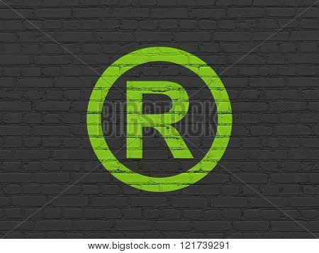 Law concept: Registered on wall background