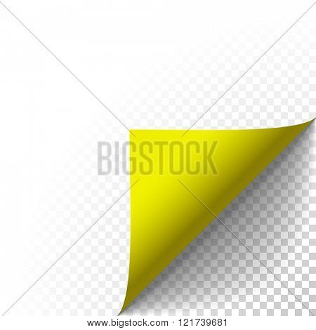 Paper corner peel. Page curled fold with shadow. Blank sheet of folded yellow sticky paper note. Vector sticker peel illustration for advertising and promotional  isolated on transparent background.