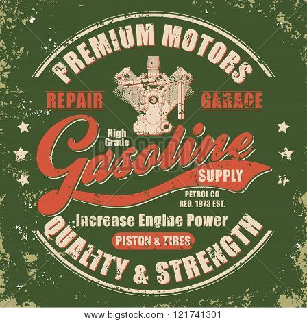 Vintage gasoline retro label for t-shirt. Typography Graphics retro style tee design poster