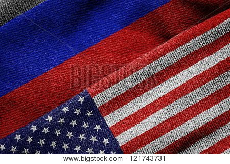 Flags Of Usa And Russia On Grunge Texture