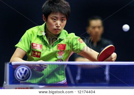 KUALA LUMPUR, MALAYSIA - SEPTEMBER 24: Guo Yue of China, (ITTF World Rank 7) in action at the Volkswagen 2010 Women's World Cup in table tennis on September 24, 2010 in Kuala Lumpur.