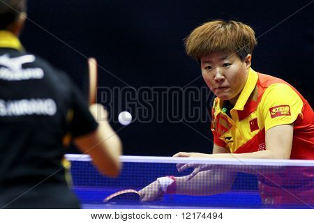 KUALA LUMPUR, MALAYSIA - SEPTEMBER 24: Guo Yan, China (ITTF World Ranking #3) prepares to hit a return at the Volkswagen 2010 Women's World Cup in table tennis on September 24, 2010 in Kuala Lumpur.