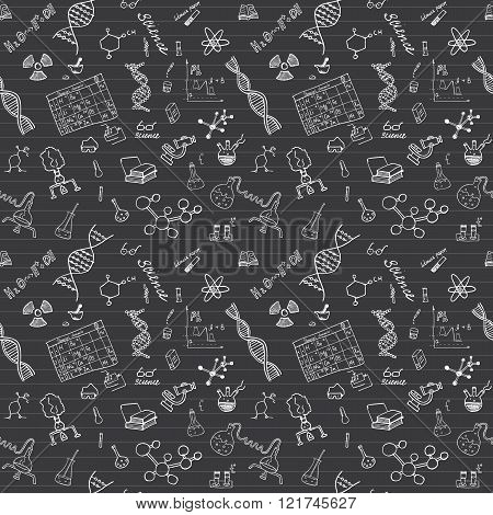 Chemistry And Sciense Seamless Pattern With Sketch Elements Hand Drawn Doodles Background Vector Ill